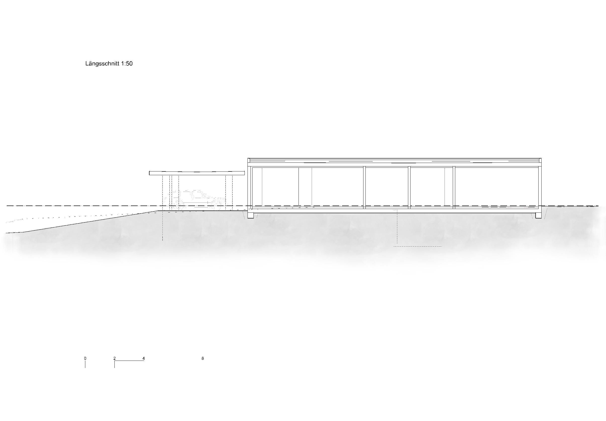 Längsschnitt 1:50 Ersatzneubau - Bungalow Mediterrano von Studio Baumann