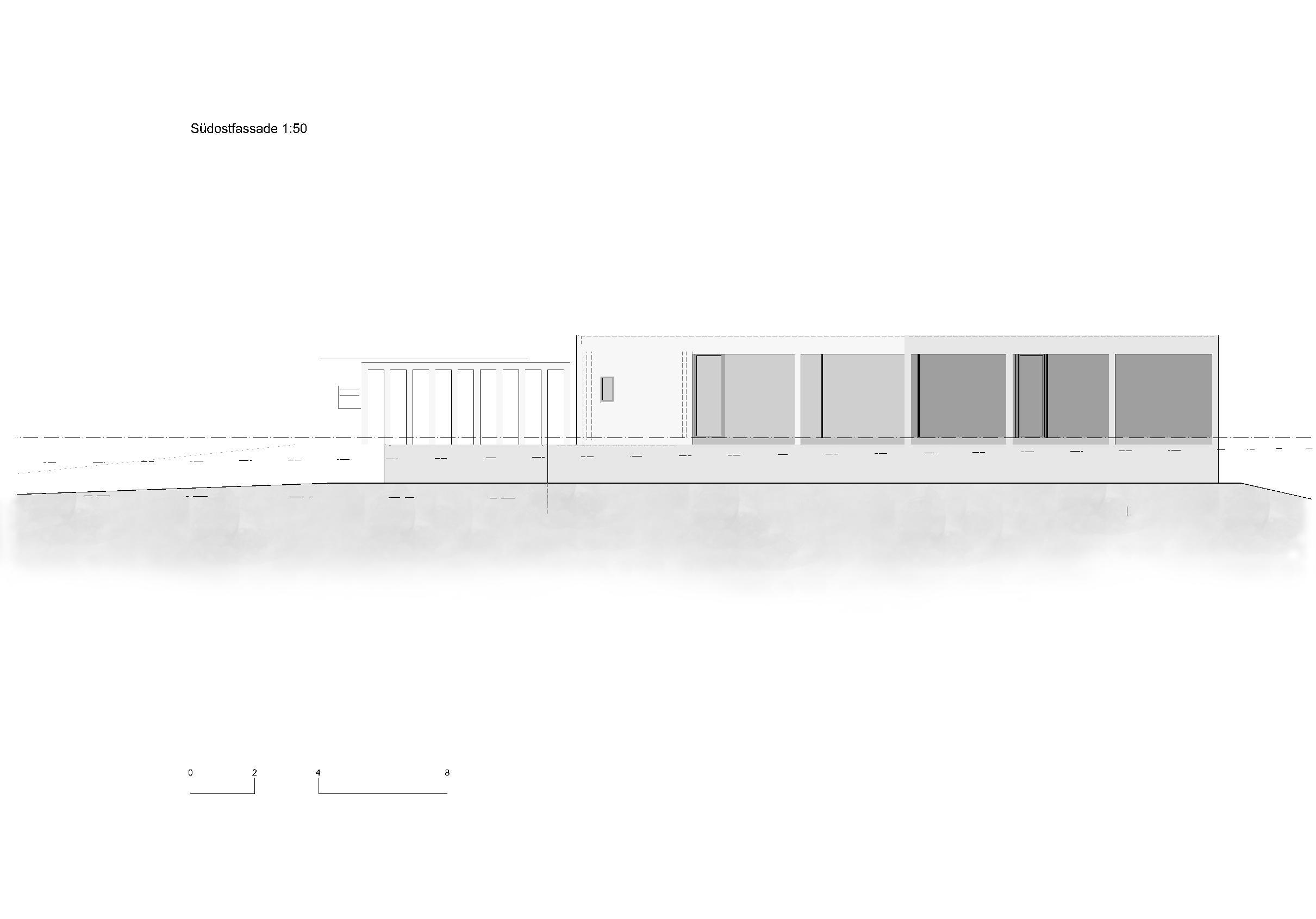 Südostfassade 1:50 Ersatzneubau - Bungalow Mediterrano von Studio Baumann