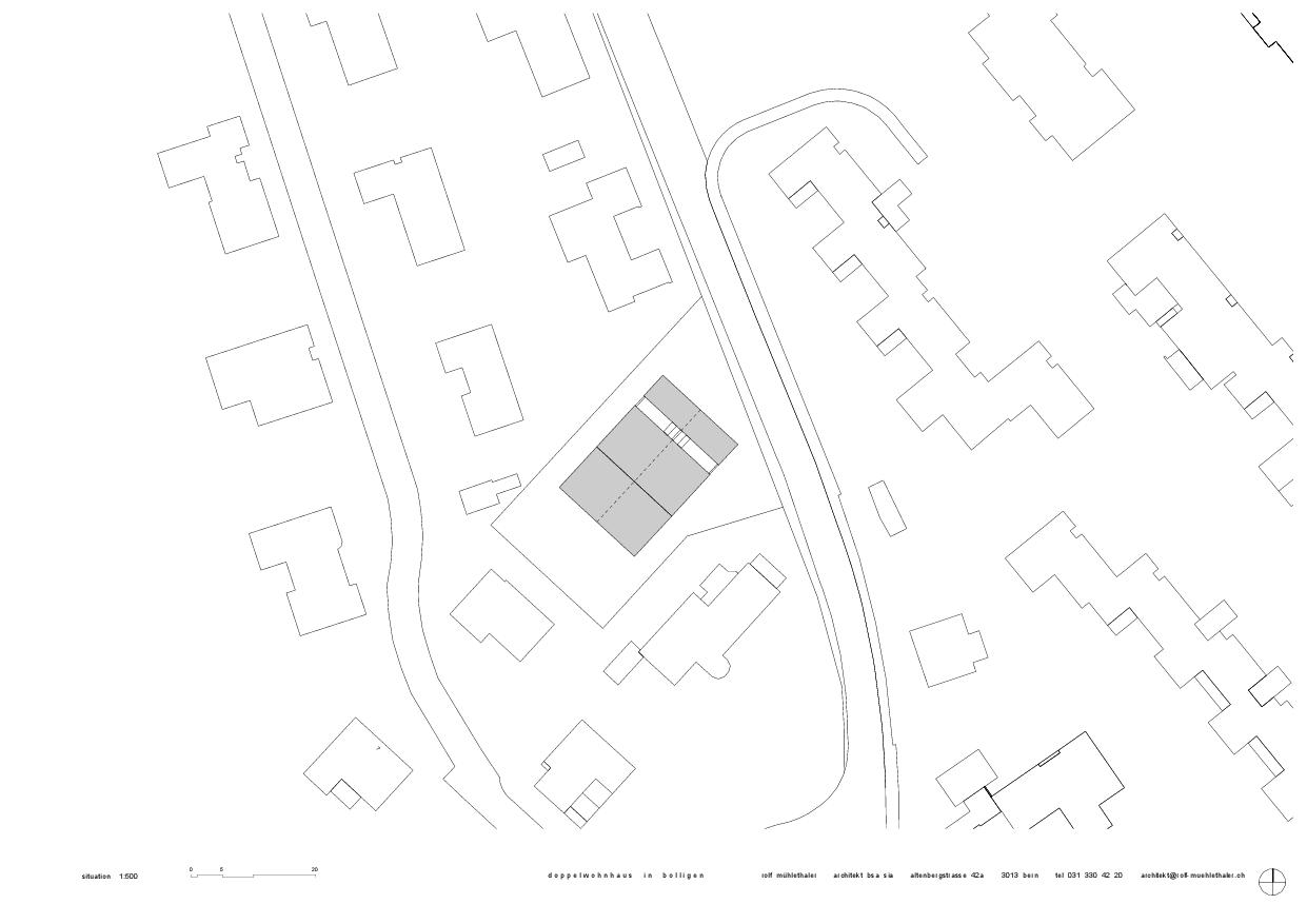 Situation, plan d'étage, façades, coupes Doppelwohnhaus in Bolligen de Rolf Mühlethaler Architekt BSA SIA