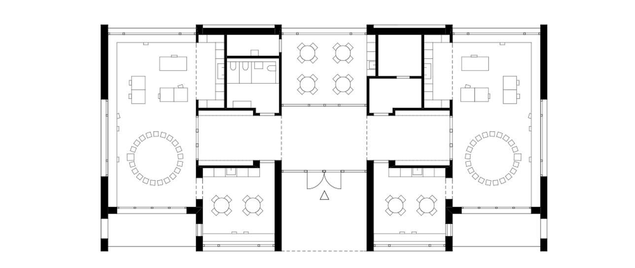 Grundriss Erdgeschoss Neubau Doppelkindergarten Steinmürli Dietikon von Schmid Ziörjen Architektenkollektiv
