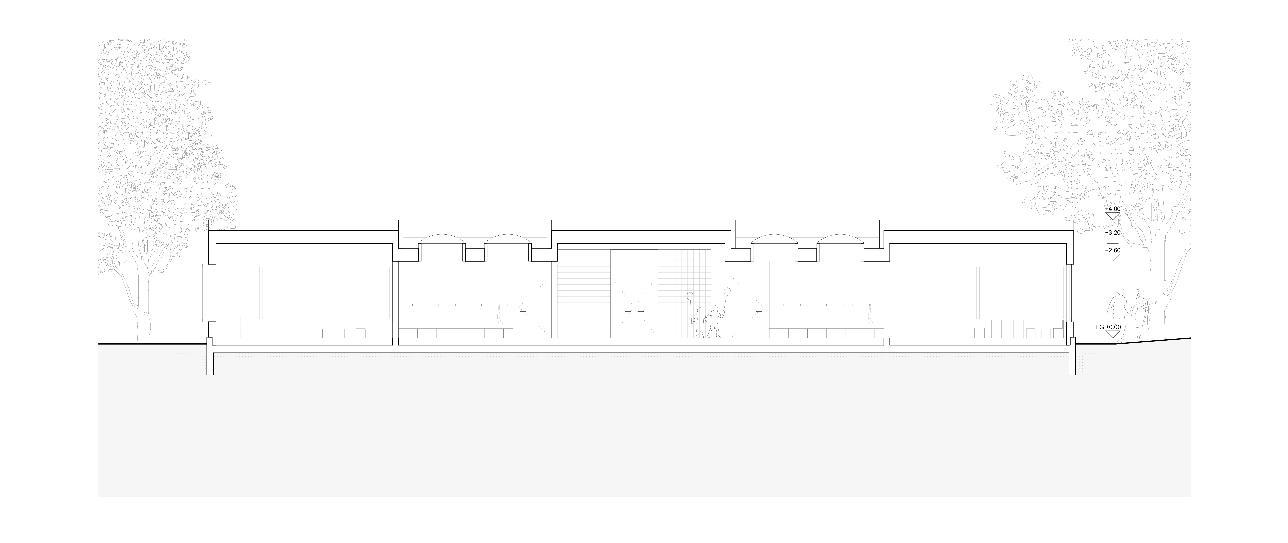 Längsschnitt Neubau Doppelkindergarten Steinmürli Dietikon von Schmid Ziörjen Architektenkollektiv