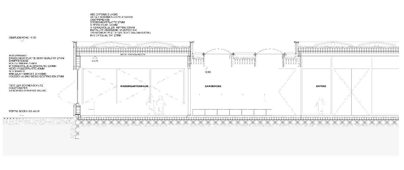 Detailschnitt Neubau Doppelkindergarten Steinmürli Dietikon von Schmid Ziörjen Architektenkollektiv
