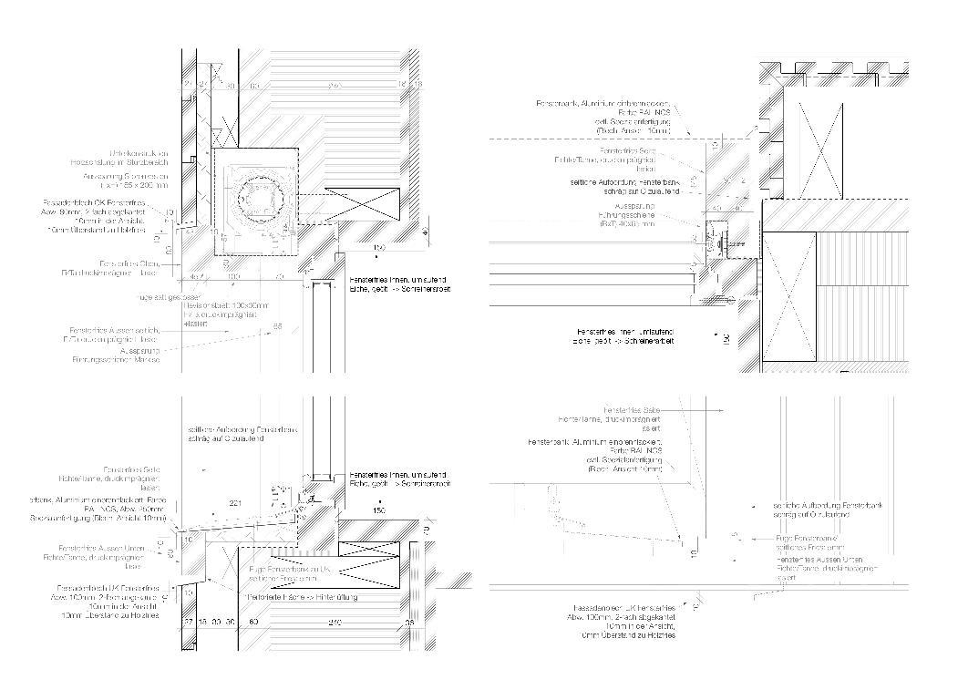 Detail Fassade Neubau Doppelkindergarten Steinmürli Dietikon von Schmid Ziörjen Architektenkollektiv