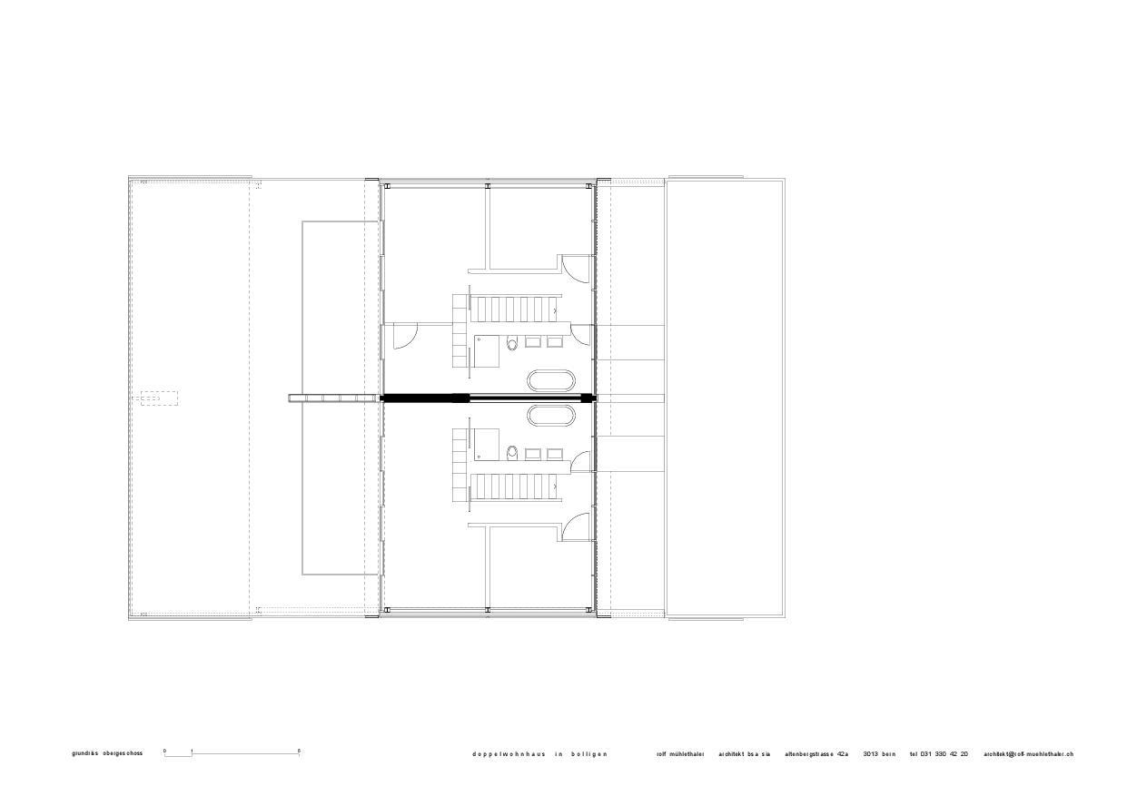 Plan 1er étage Doppelwohnhaus in Bolligen de Rolf Mühlethaler Architekt BSA SIA