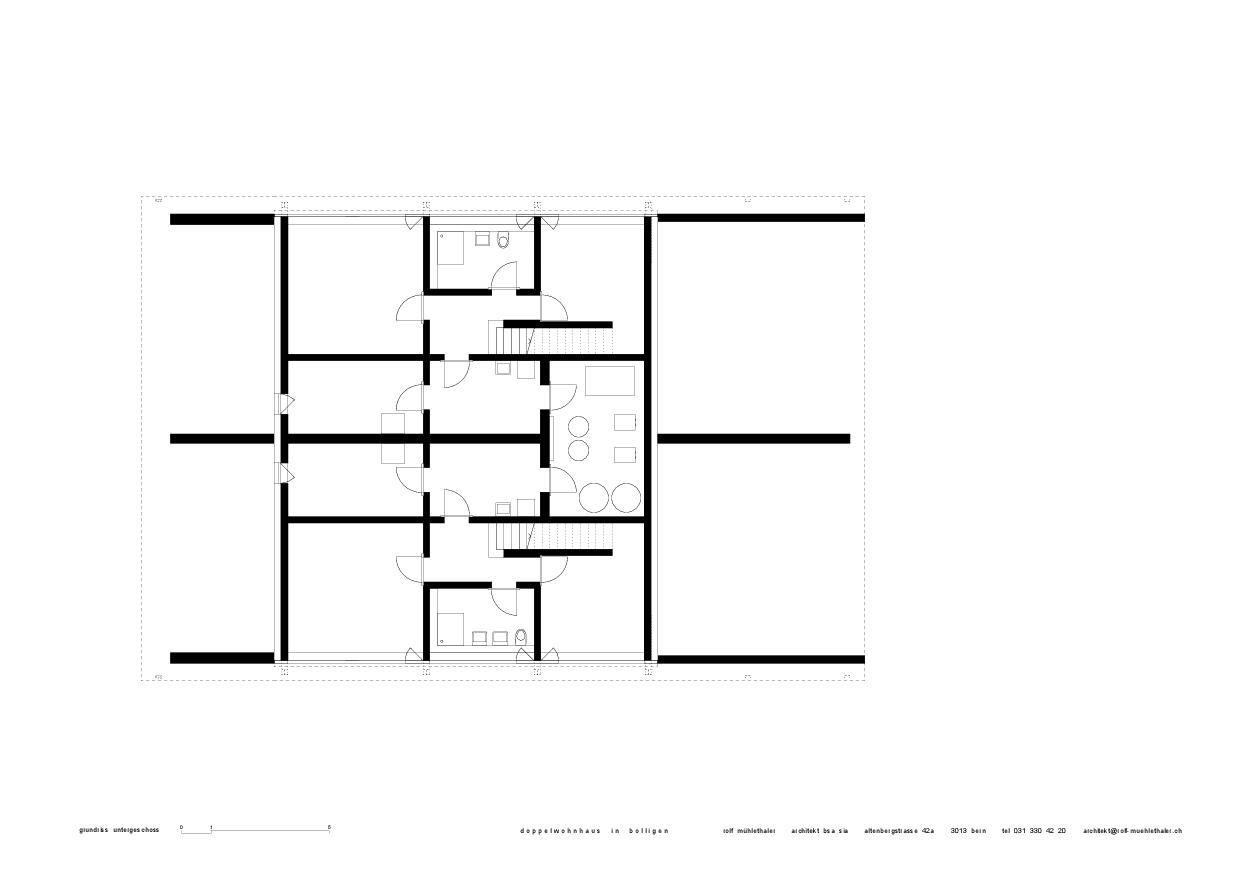 Grundriss UG Doppelwohnhaus in Bolligen von Rolf Mühlethaler Architekt BSA SIA