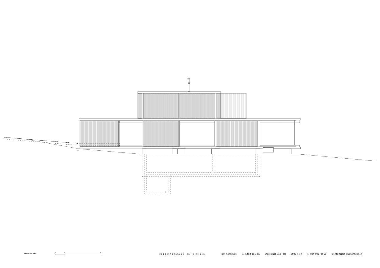 Façade ouest  Doppelwohnhaus in Bolligen de Rolf Mühlethaler Architekt BSA SIA