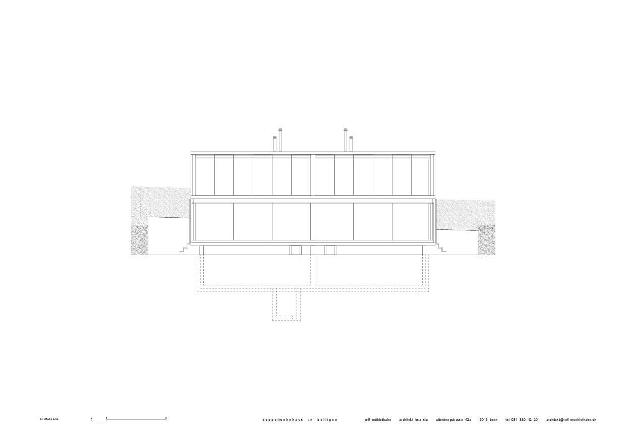 Façade sud Doppelwohnhaus in Bolligen de Rolf Mühlethaler Architekt BSA SIA