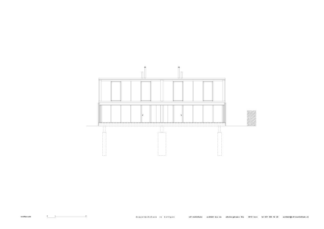 Façade nord Doppelwohnhaus in Bolligen de Rolf Mühlethaler Architekt BSA SIA