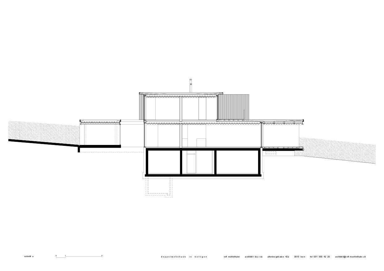 Coupe a Doppelwohnhaus in Bolligen de Rolf Mühlethaler Architekt BSA SIA