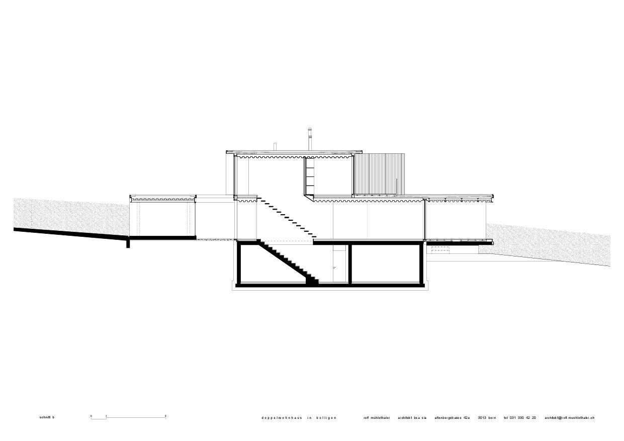 Coupe b Doppelwohnhaus in Bolligen de Rolf Mühlethaler Architekt BSA SIA
