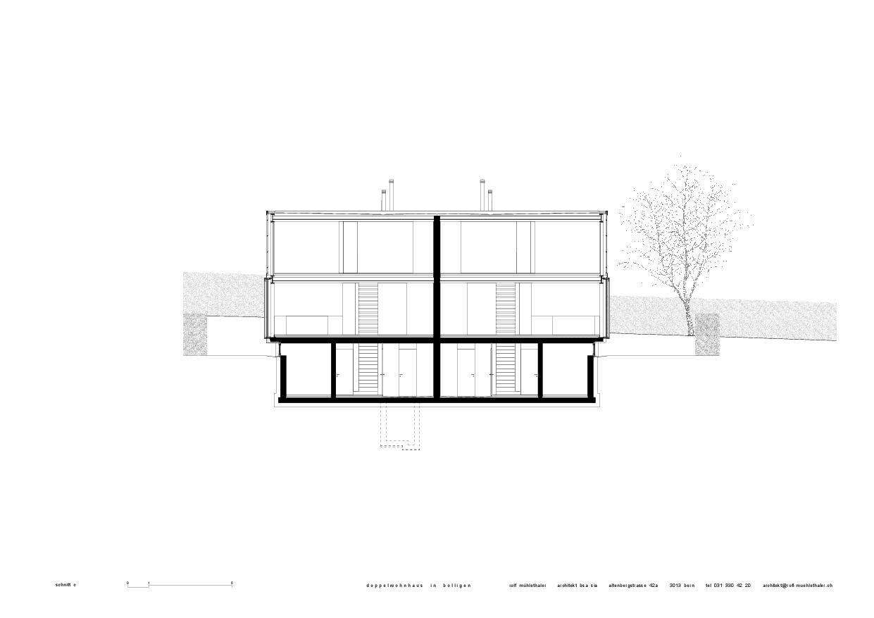 Schnitt c Doppelwohnhaus in Bolligen von Rolf Mühlethaler Architekt BSA SIA