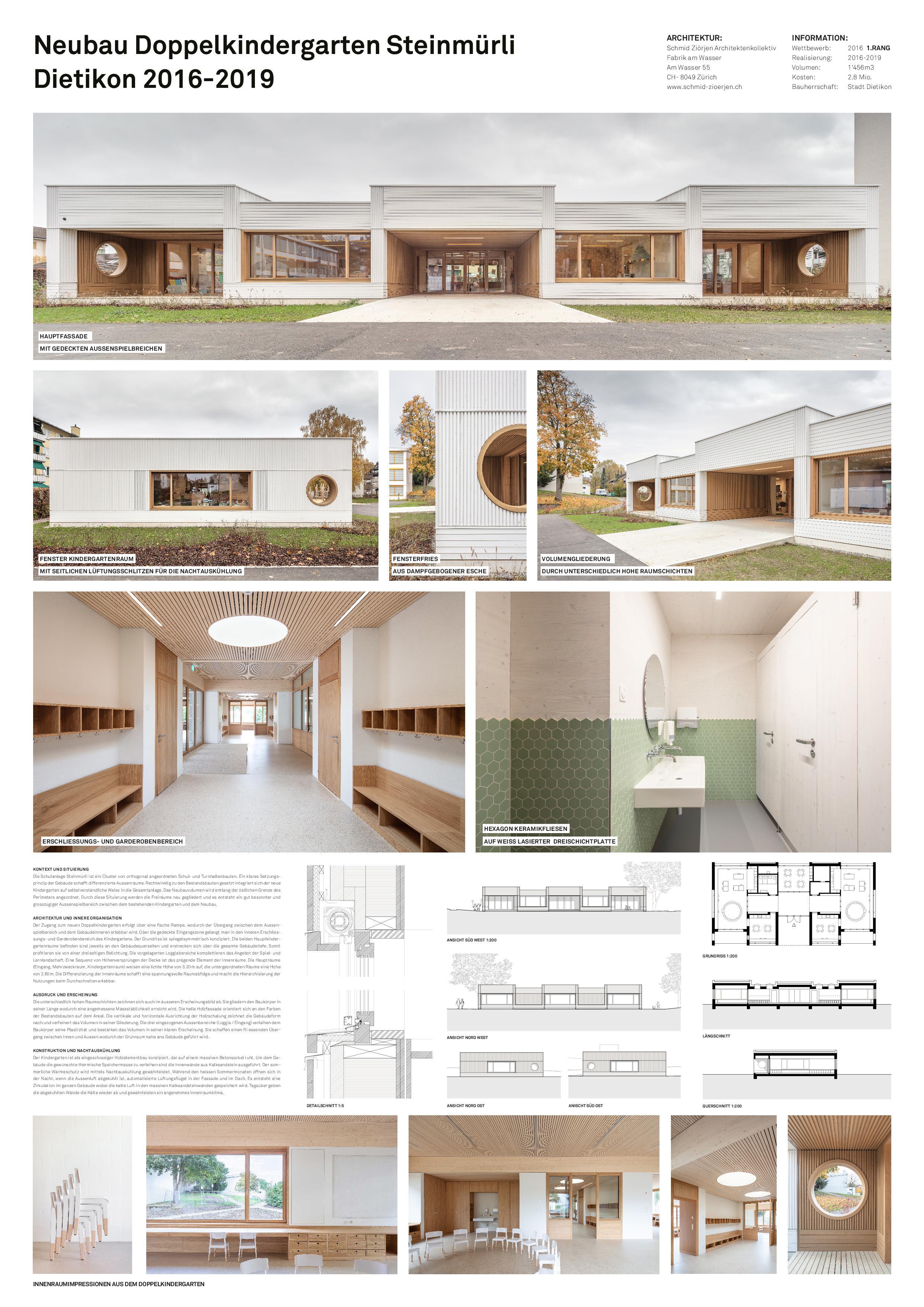A0 Plakat Neubau Doppelkindergarten Steinmürli Dietikon von Schmid Ziörjen Architektenkollektiv