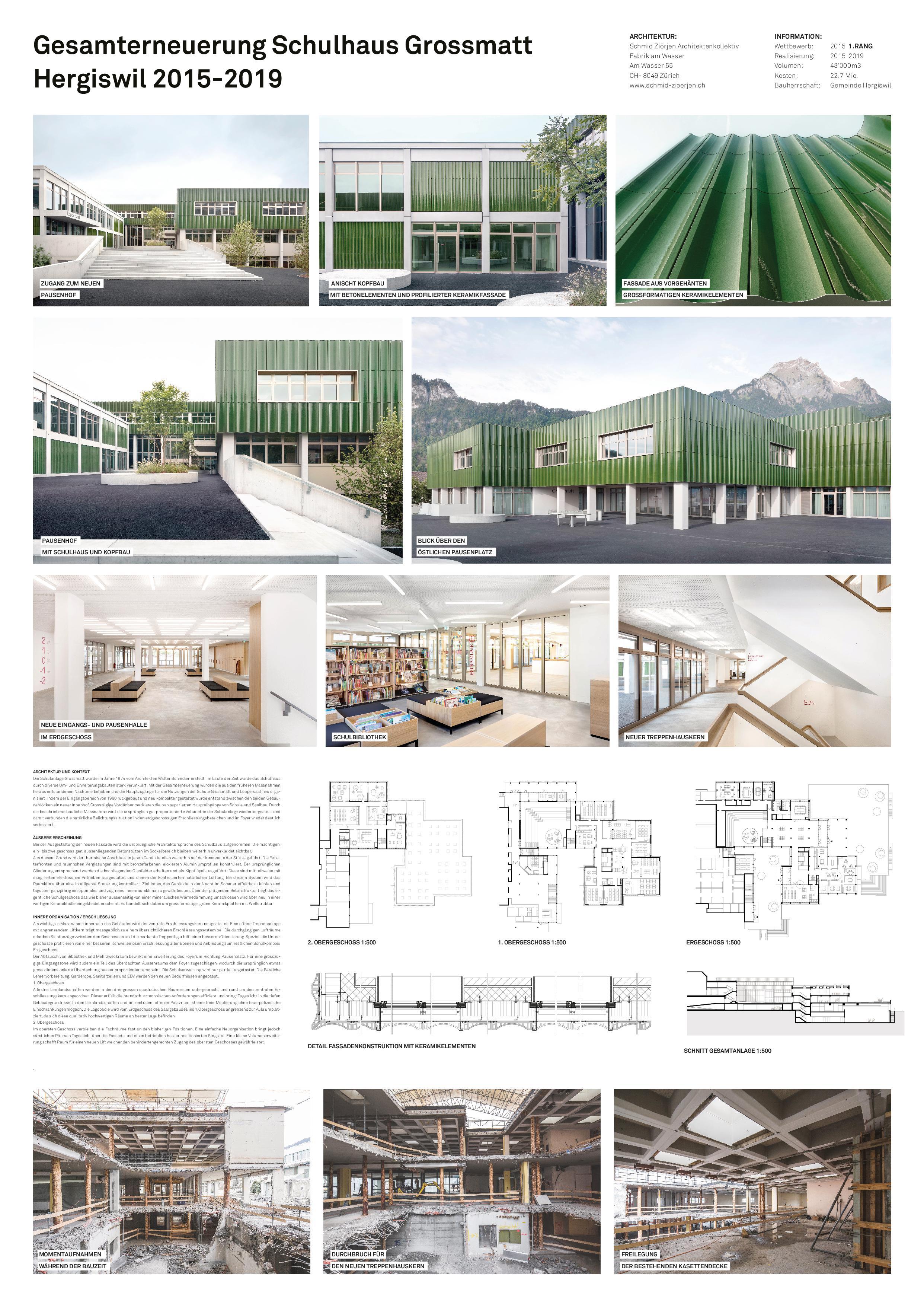 A0_Plakat Gesamterneuerung Schulhaus Grossmatt Hergiswil  von Schmid Ziörjen Architektenkollektiv