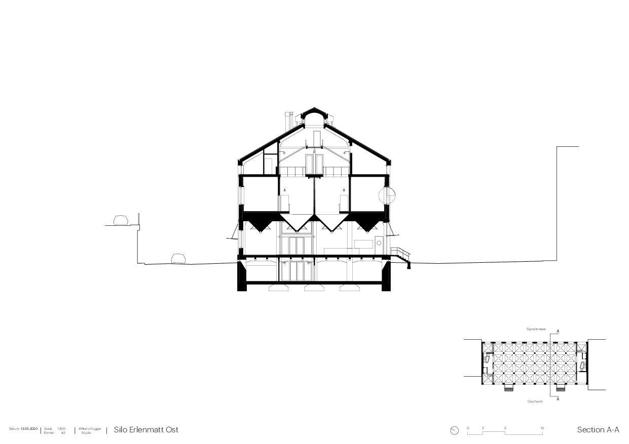 Schnitt Umbau Silo Erlenmatt, Basel von Architekturbüro<br/>