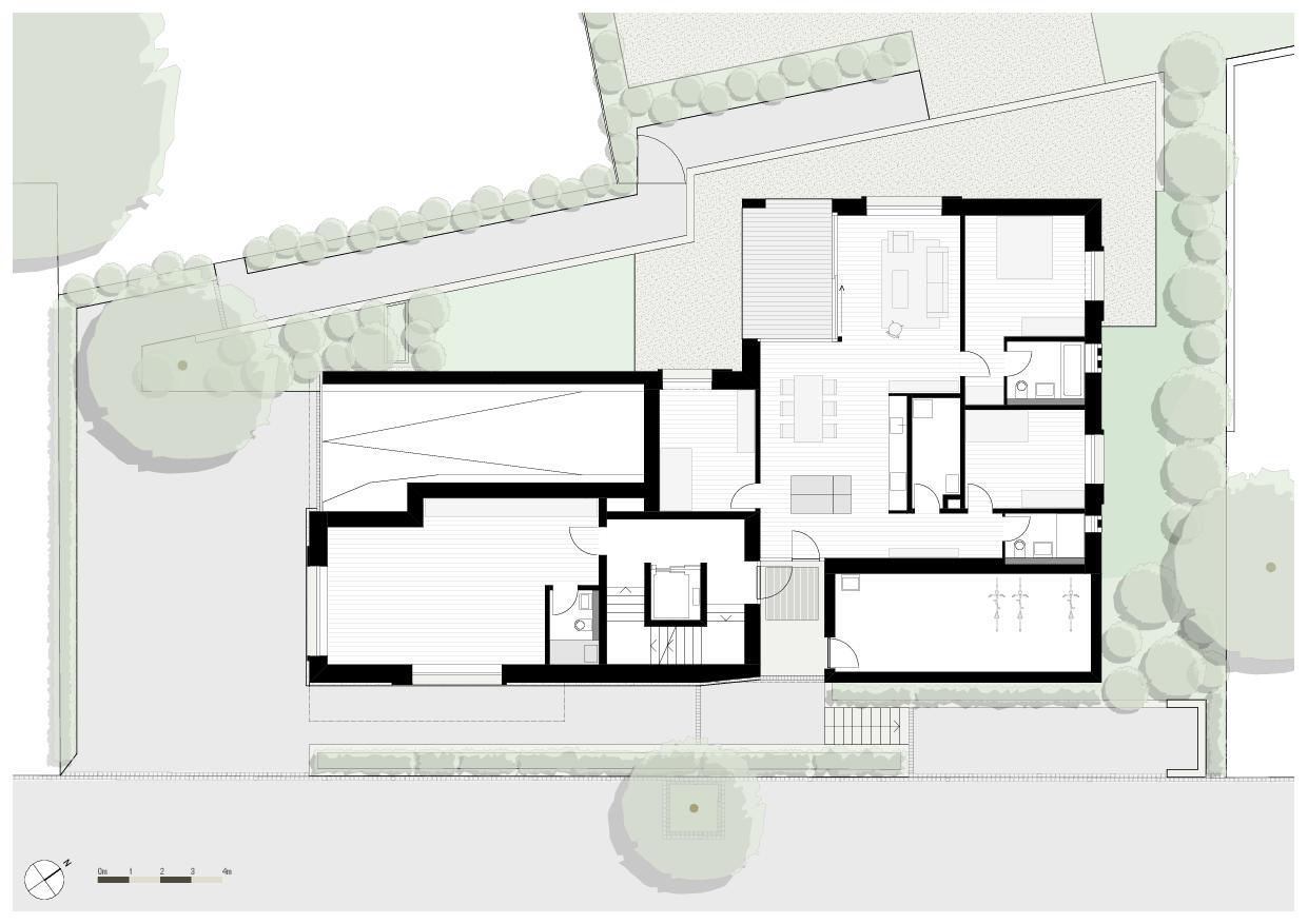 Plan rez-de-chaussée Wohnresidenz Schösslistrasse, Ennetbaden (AG) de Atelier West Architekten AG