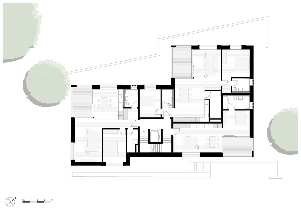 Grundriss 1. Obergeschoss Wohnresidenz Schösslistrasse, Ennetbaden (AG) von Atelier West Architekten AG