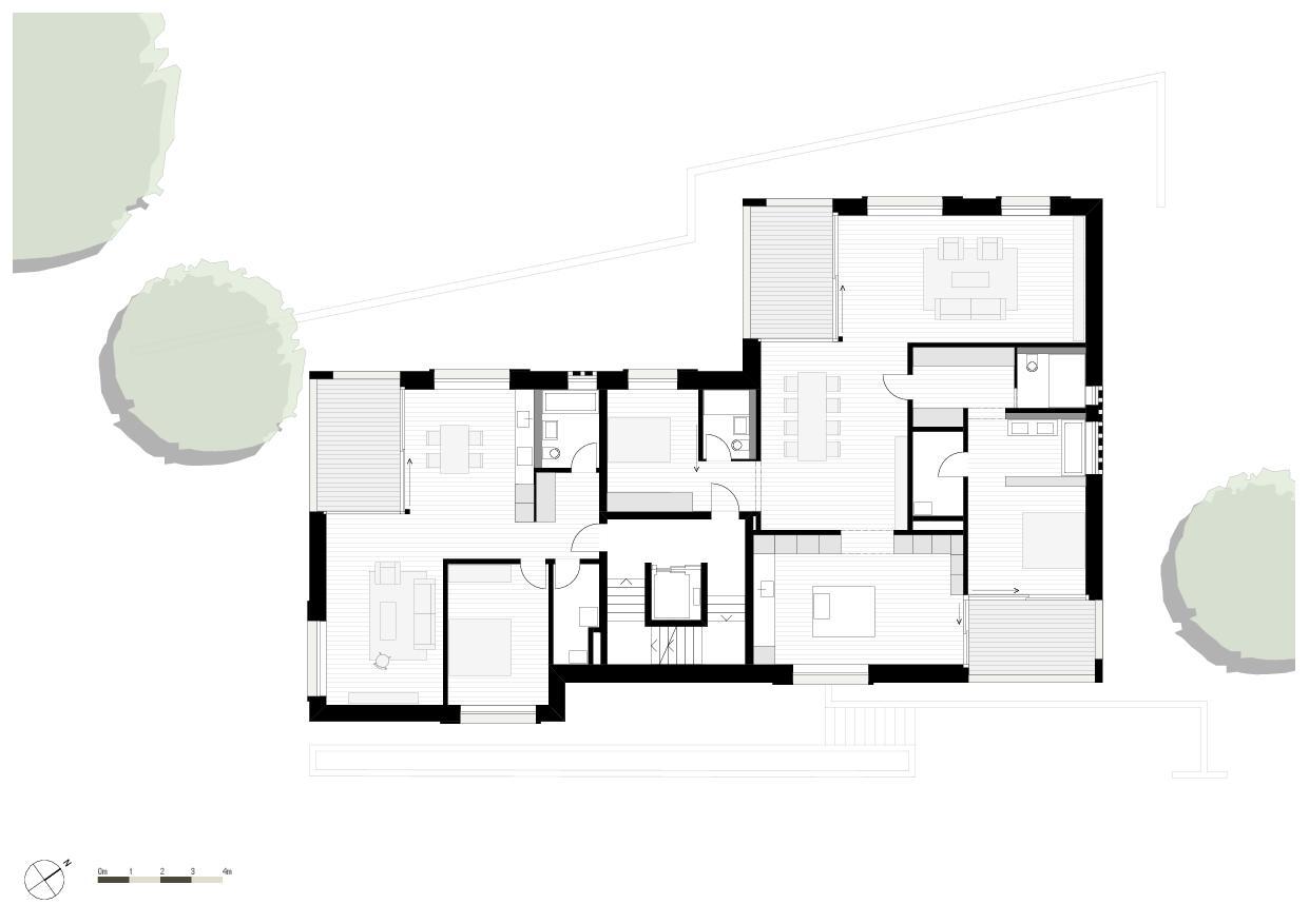 Grundriss 2. Obergeschoss Wohnresidenz Schösslistrasse, Ennetbaden (AG) von Atelier West Architekten AG