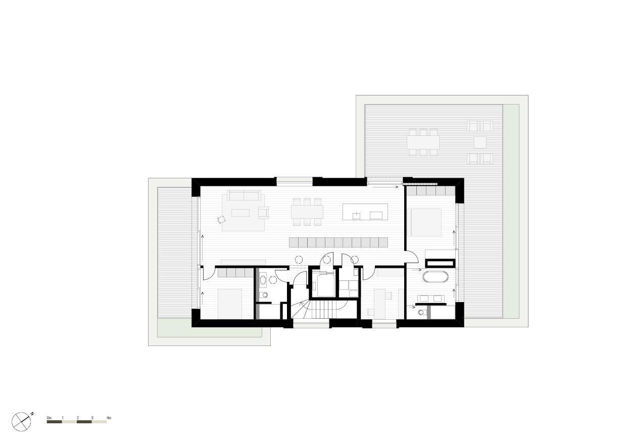 Grundriss Attikageschoss Wohnresidenz Schösslistrasse, Ennetbaden (AG) von Atelier West Architekten AG