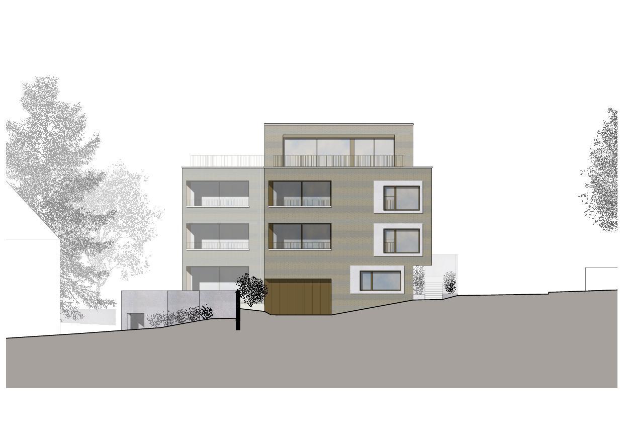 Elévation sud-ouest Wohnresidenz Schösslistrasse, Ennetbaden (AG) de Atelier West Architekten AG