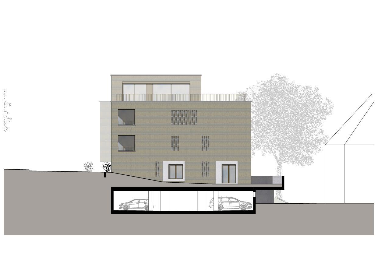 Elévation nord-est Wohnresidenz Schösslistrasse, Ennetbaden (AG) de Atelier West Architekten AG