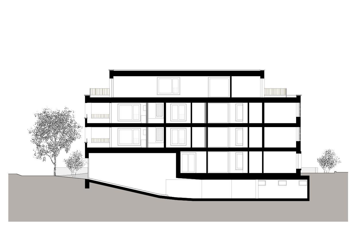 Coupe longitudinale Wohnresidenz Schösslistrasse, Ennetbaden (AG) de Atelier West Architekten AG