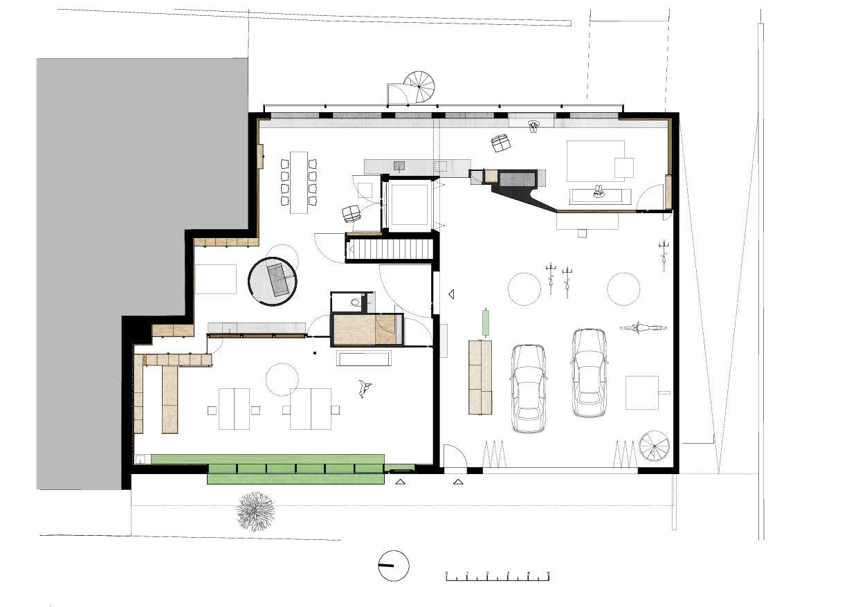Plan rez-de-chaussée Wohnhaus mit Atelier de lilitt bollinger studio gmbH