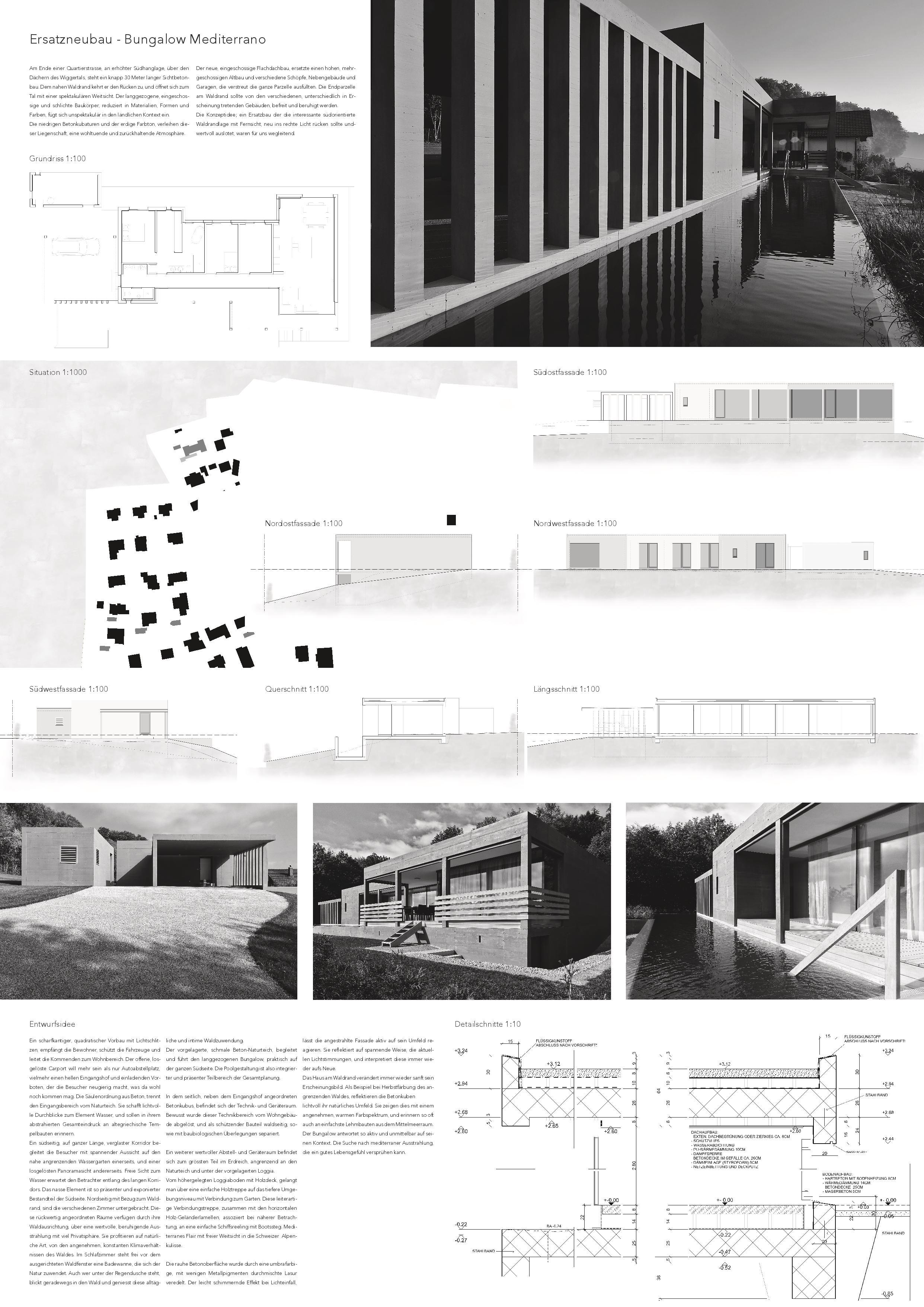 A0 Plakat Ersatzneubau - Bungalow Mediterrano von Studio Baumann