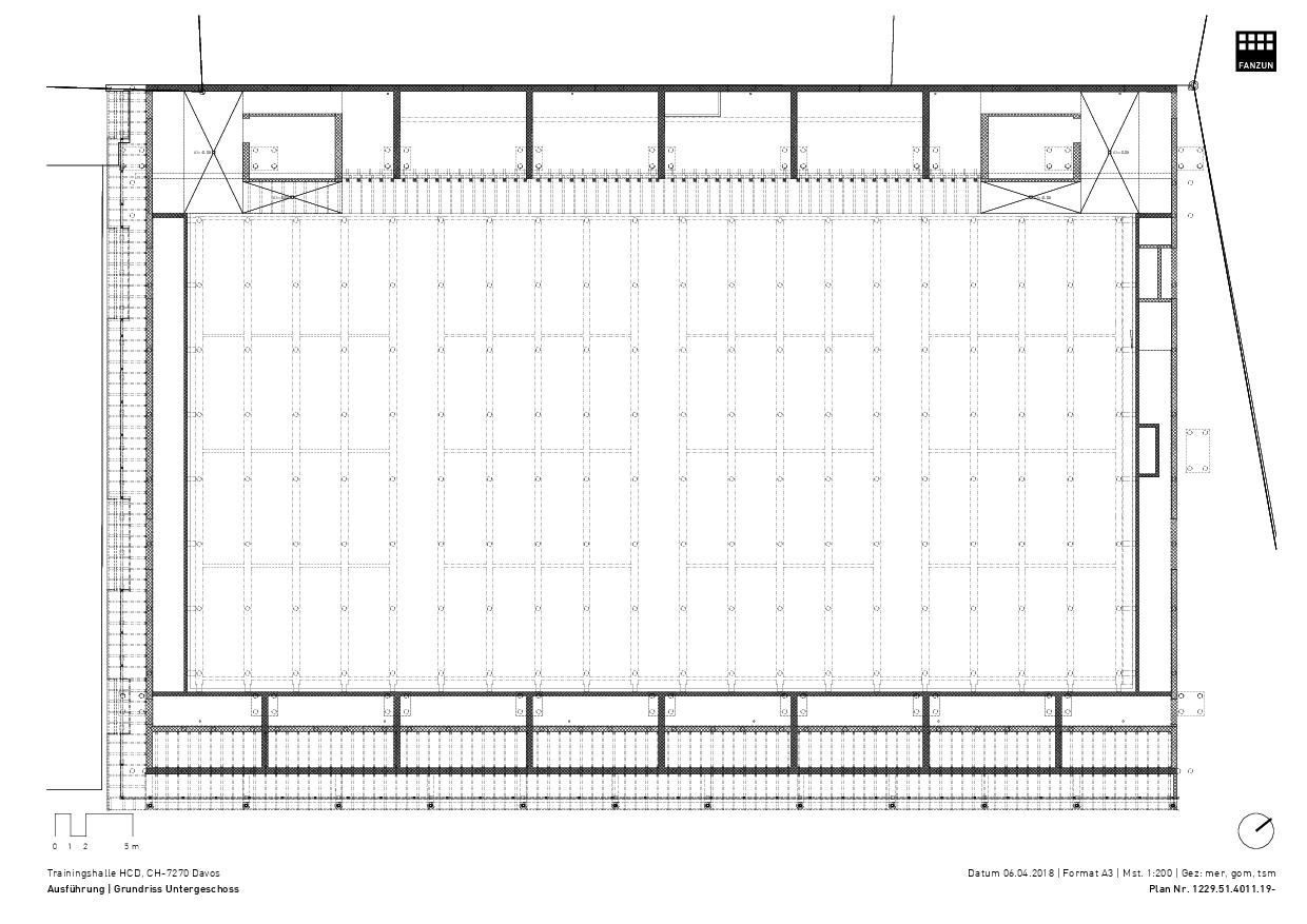 Plan sous-sol Trainingshalle HCD de Architekten Ingenieure Berater<br/>