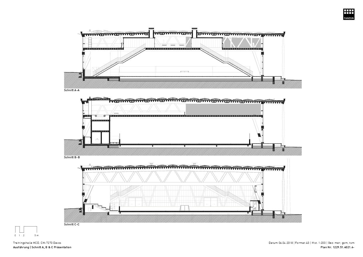 Coupes A, B et C Trainingshalle HCD de Architekten Ingenieure Berater<br/>