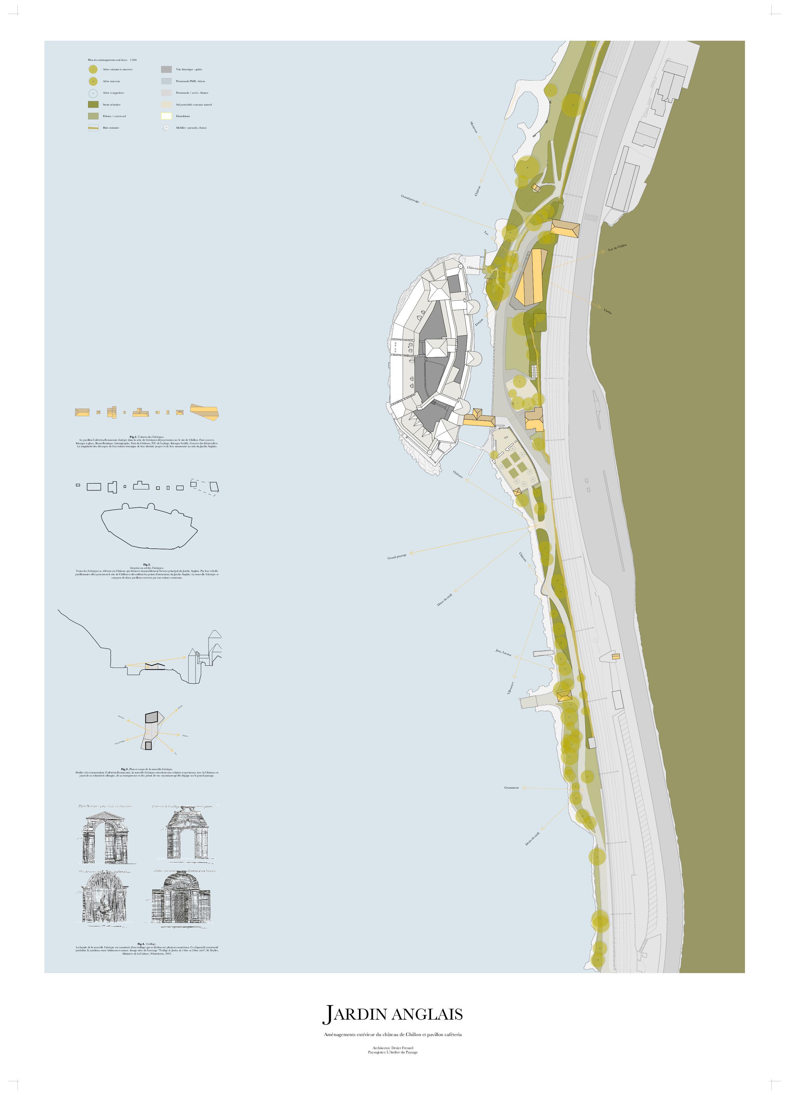 Plan situation Un Jardin anglais pour le Château de Chillon de Dreier Frenzel