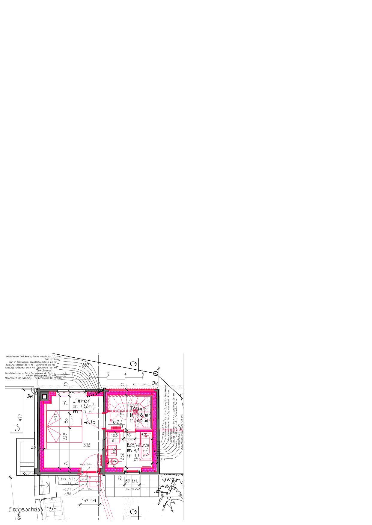 Plan du rez-de-chaussée Ausbau Atelier Koller de Dipl. Architekt ETH/SIA<br/>