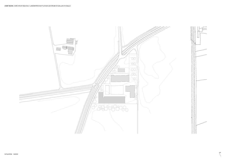 Situation 1:2000 Landwirtschaftliches Zentrum St.Gallen in Salez von Architekt BSA SIA<br/>