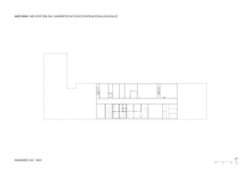Untergeschoss 1:500 Landwirtschaftliches Zentrum St.Gallen in Salez von Architekt BSA SIA<br/>