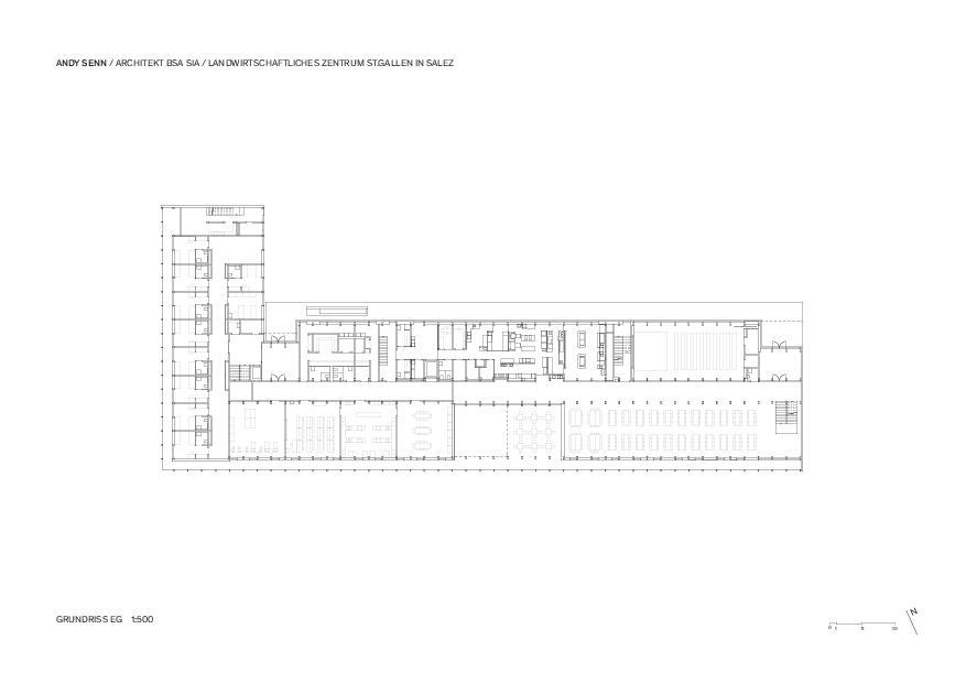 Erdgeschoss 1:500 Landwirtschaftliches Zentrum St.Gallen in Salez von Architekt BSA SIA<br/>