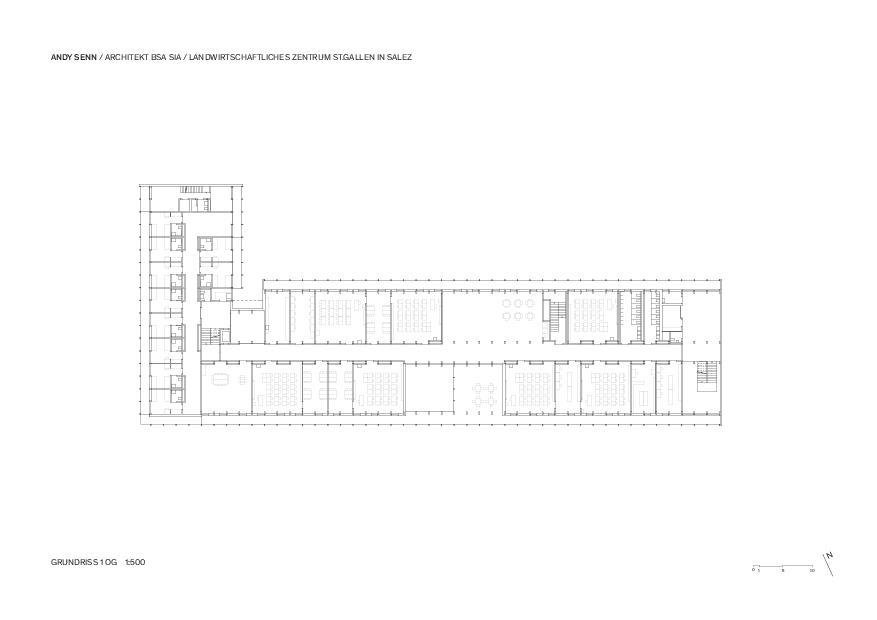 1. Obergeschoss 1:500 Landwirtschaftliches Zentrum St.Gallen in Salez von Architekt BSA SIA<br/>
