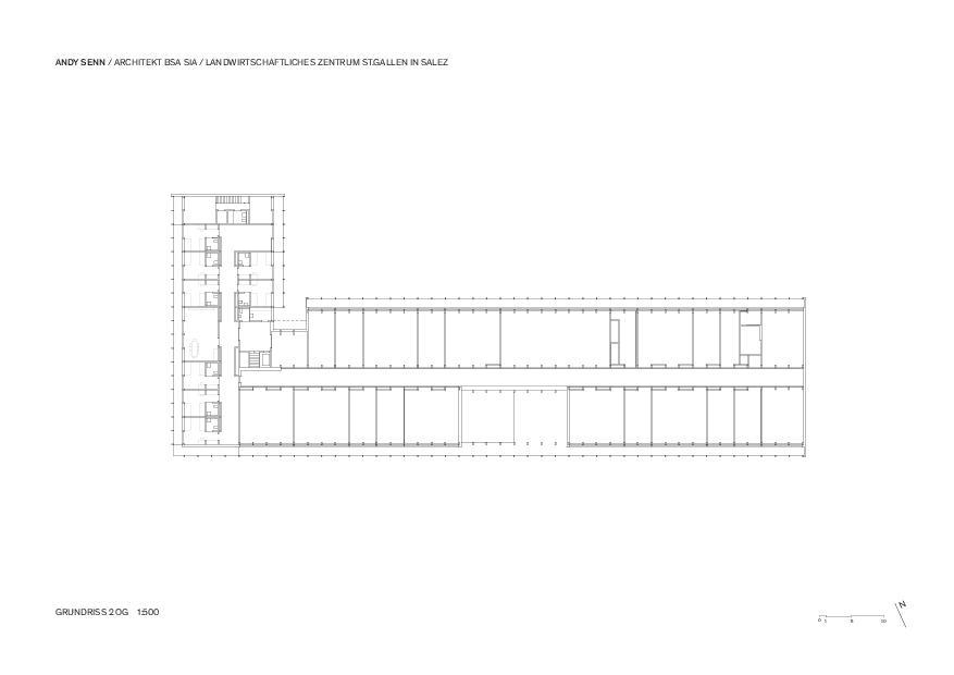 2. Obergeschoss 1:500 Landwirtschaftliches Zentrum St.Gallen in Salez von Architekt BSA SIA<br/>