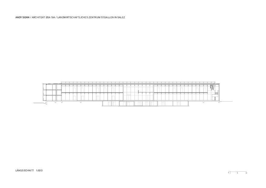 Längsschnitt 1:500 Landwirtschaftliches Zentrum St.Gallen in Salez von Architekt BSA SIA<br/>
