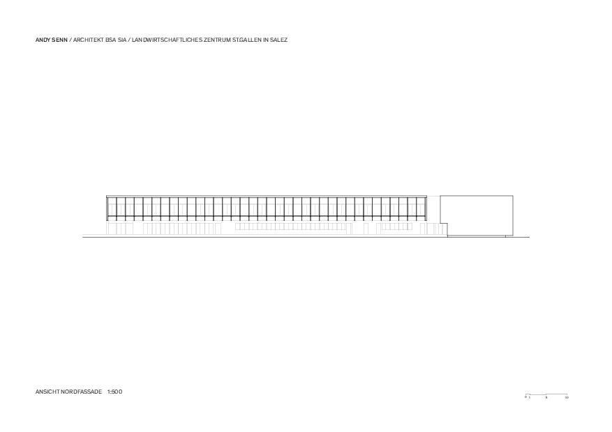 Nordfassade 1:500 Landwirtschaftliches Zentrum St.Gallen in Salez von Architekt BSA SIA<br/>