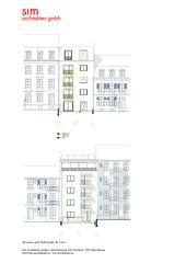 Strassen- und Hoffassade M1:200 Aufstockung und Erneuerung Mehrfamilienhaus Homburgerstrasse, Basel von sim Architekten GmbH