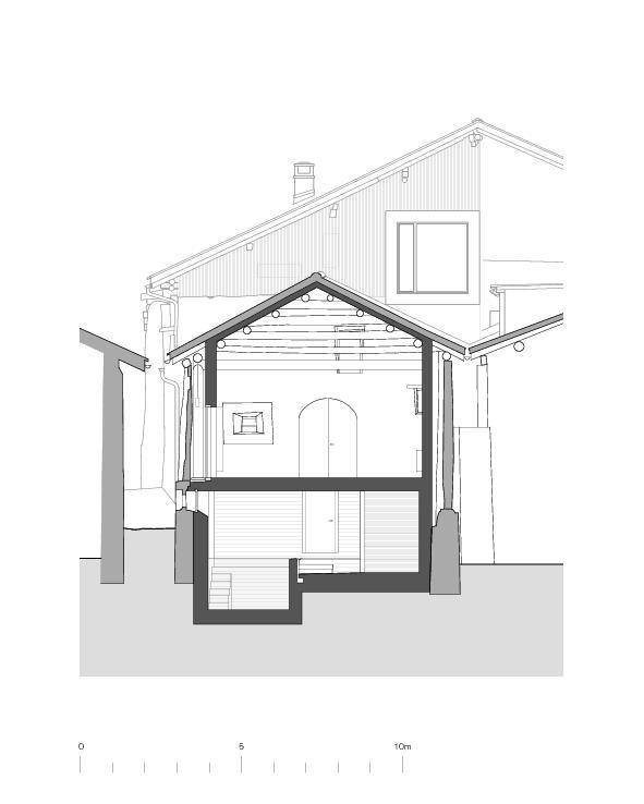 Coupe transversale grange Von der Ruine zum Nullenergiebilanzhaus de FELIX PARTNER Architektur und Design
