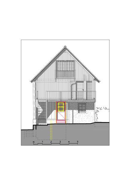 Façade nord-ouest  Ausbau Atelier Koller de Dipl. Architekt ETH/SIA<br/>