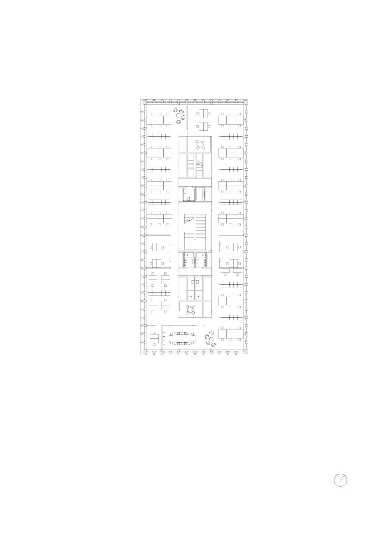 1 Obergeschoss, Mst 1:200 Bürogebäude am Hamburger Bahnhof, Berlin von Architekturbüro<br/>