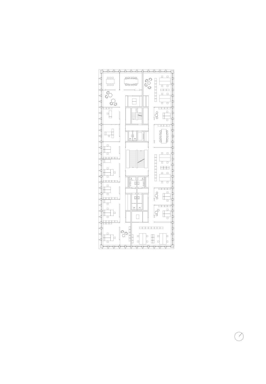 4 Obergeschoss, Mst 1:200 Bürogebäude am Hamburger Bahnhof, Berlin von Architekturbüro<br/>