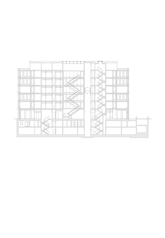 Längsschnitt, Mst 1:200 Bürogebäude am Hamburger Bahnhof, Berlin von Architekturbüro<br/>