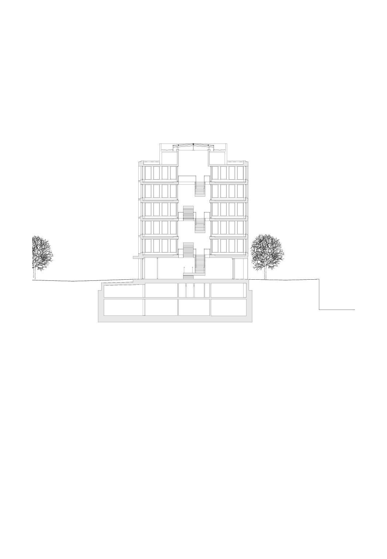 Querschnitt, Mst 1:200 Bürogebäude am Hamburger Bahnhof, Berlin von Architekturbüro<br/>