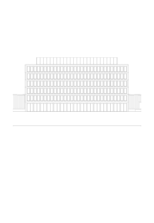 Fassade Ost, Mst 1:200 Bürogebäude am Hamburger Bahnhof, Berlin von Architekturbüro<br/>