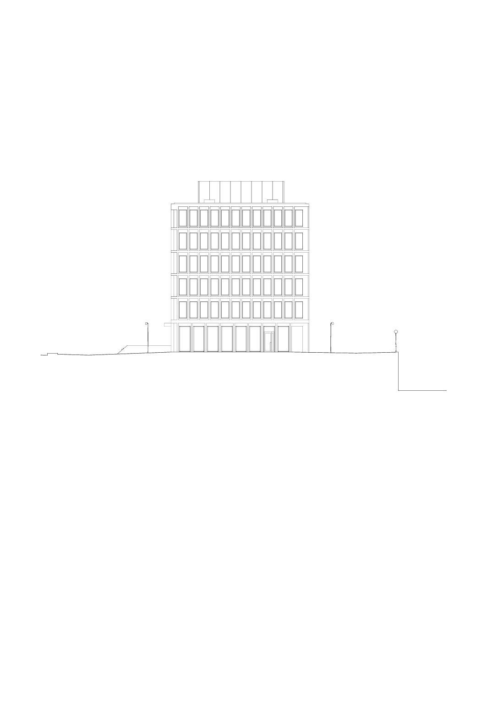Fassade Süd, Mst 1:200 Bürogebäude am Hamburger Bahnhof, Berlin von Architekturbüro<br/>