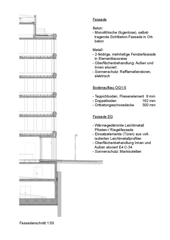 Detailschnitt, Mst 1:50 Bürogebäude am Hamburger Bahnhof, Berlin von Architekturbüro<br/>