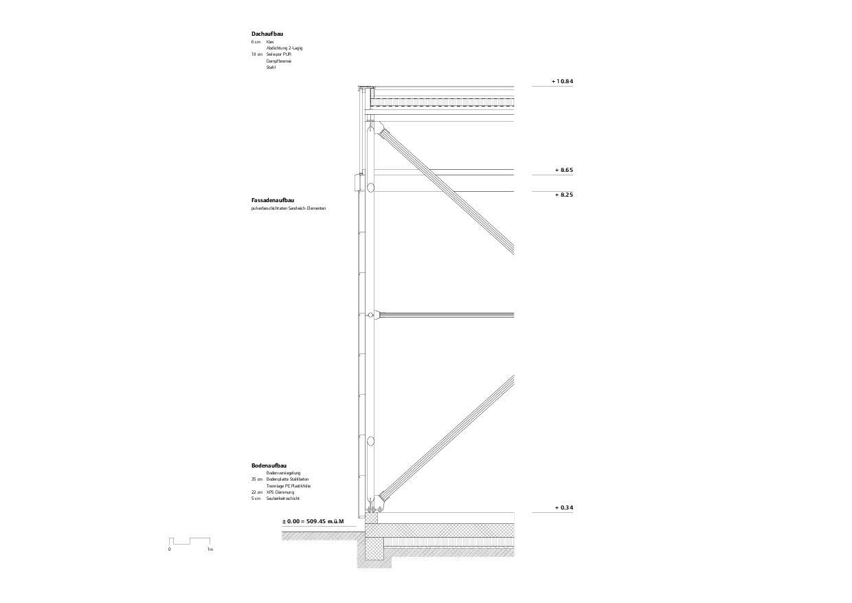 Detailschnitt Flugzeughangar Bern-Belp von Marazzi + Paul Architekten AG