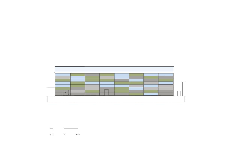 Ansicht Detail Flugzeughangar Bern-Belp von Marazzi + Paul Architekten AG